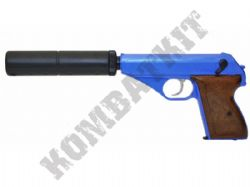 HG106S Walther PPK Style Gas Powered Airsoft BB Gun 2 Tone Blue Black